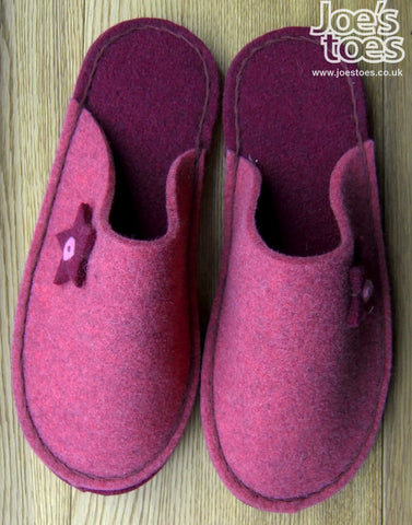 Fuchsia Pink Felt Slipper - Star and Button