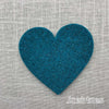 Joe's Toes big heart patch in teal thick wool felt with punched holes