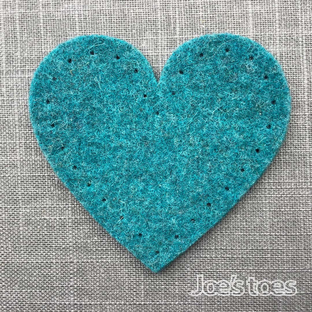 Joe's Toes tuquoise big heart patch in thick wool felt with punched holes