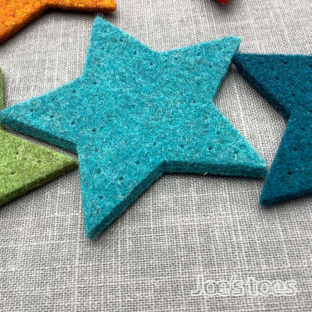 Joe's Toes big felt star patches turquoise