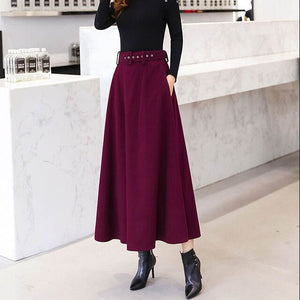 Women's Wool Skirts With Belt Solid Color