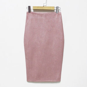 Women's High Waist Suede Skirt
