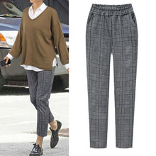 Load image into Gallery viewer, wide leg Elastic Waist Plaid Casual Fittness Pants