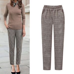 wide leg Elastic Waist Plaid Casual Fittness Pants