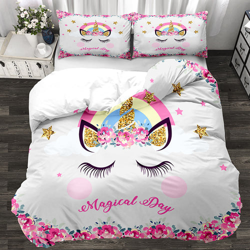 3D Cartoon Unicorn Kids Bedding Set