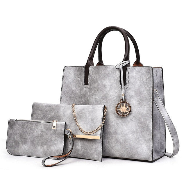 3Pcs PU Leather Ladies Handbag