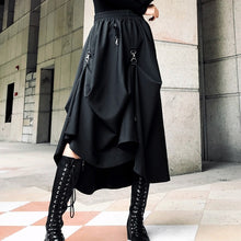 Load image into Gallery viewer, Fashion irregular black women's skirt