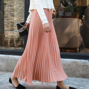 Women's Chiffon Pleated Long Skirt