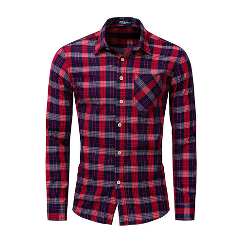 Men's Cotton Long-sleeved Color Matching Plaid Shirt