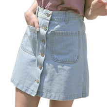 Load image into Gallery viewer, Women's High Waist Solid A-Line Jeans Skirt
