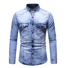 Load image into Gallery viewer, Washed Pleated Pocket Single-breasted Denim Shirt