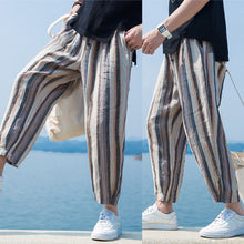 Load image into Gallery viewer, Stripe Elastic Waist Button Harem Pants