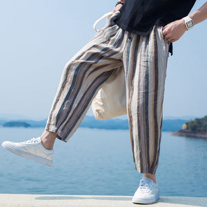 Stripe Elastic Waist Button Harem Pants