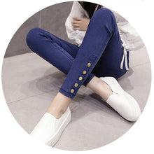 Load image into Gallery viewer, Women's Washed Imitation Denim Pants