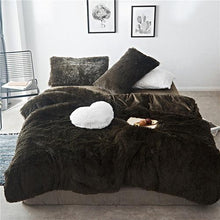 Load image into Gallery viewer, Solid Color Shaggy Duvet Cover Set