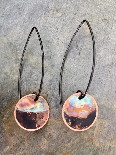 firepainted earrings, copper earrings, flame painted copper earrings, flame painted earrings, flame painted jewelry, firepainted jewelry, firepainted copper earrings