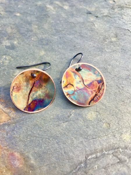 Softly Hammered Concave Circle Earrings