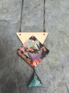 firepainted copper necklace, firepainted copper, copper jewelry, copper necklace, flame painted copper necklace, labradorite, flame painted copper jewelry, flame painted copper necklace