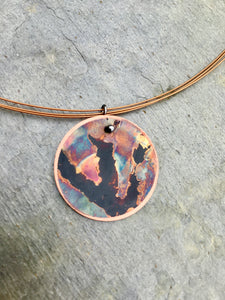 firepainted necklace, copper necklace, flame painted copper necklace, flame painted necklace, flame painted jewelry, firepainted jewelry, firepainted copper necklace