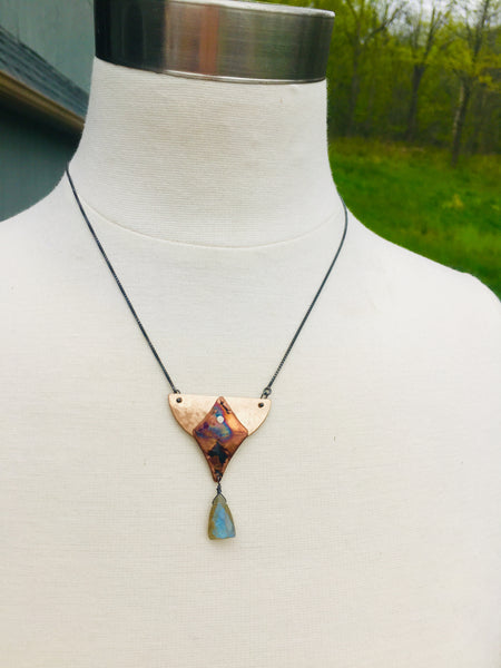 Bronze Half Moon with Labradorite Necklace