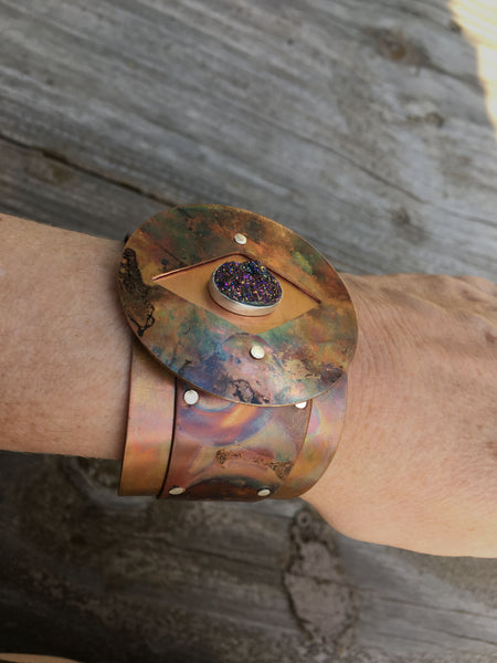 Warrior Princess Cuff with Druzy ONE OF A KIND SIGNATURE PIECE