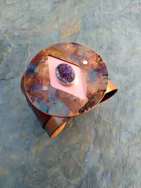 firepainted copper cuff, riveted cuff, druzy, flame painted copper cuff, firepainted copper bracelet, bezel set druzy, flame painted copper jewelry