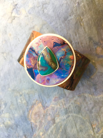 Painting with Fire Boulder Chrysoprase Cuff