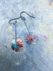 firepainted earrings, copper earrings, flame painted copper earrings, flame painted earrings, flame painted jewelry, firepainted jewelry, firepainted copper earrings, wildflower earrings, flower earrings