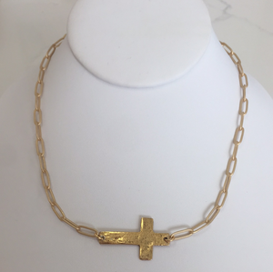 Gold cross paperclip necklace