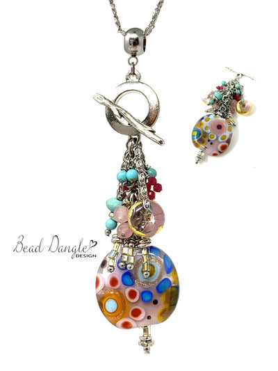 Colorful Lampwork Glass Beaded Pendant Necklace #2352D - Bead Dangle Design