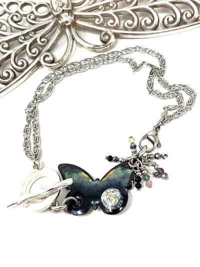 Painted Enamel Butterfly Interchangeable Beaded Dangle Bracelet #3239BC - Bead Dangle Design