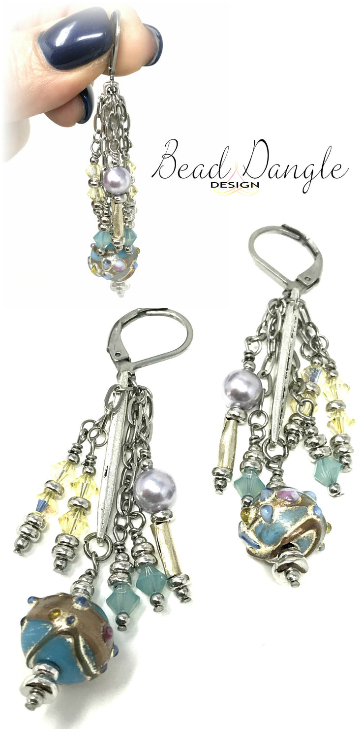 Hand Painted Swarovski Pearl and Crystal Dangle Beaded Earrings #909E - Bead Dangle Design