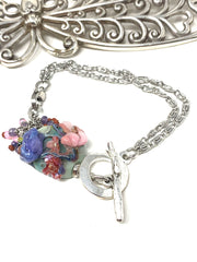 Floral Lampwork Interchangeable Dangle Bracelet #3207BC - Bead Dangle Design