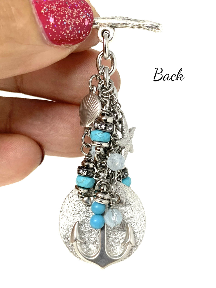 Summer Nautical Anchor Beaded Cluster Necklace #2323D - Bead Dangle Design