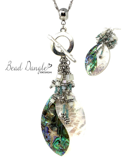 Crackled Abalone Beaded Cluster Pendant Necklace #2413D - Bead Dangle Design