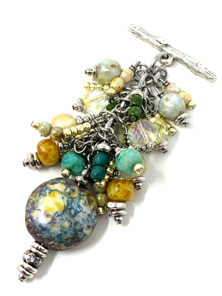 Ceramic Glass Beaded Cluster Pendant Necklace #22713D - Bead Dangle Design