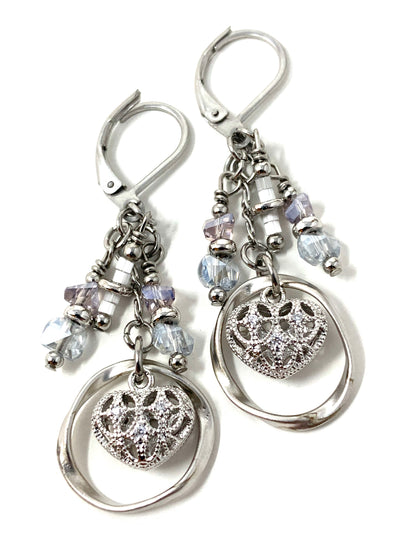Filigree Heart Crystal Beaded Dangle Earrings #1196E - Bead Dangle Design