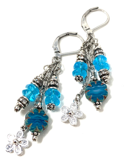 Czech Glass Floral Beaded Dangle Earrings #1228E