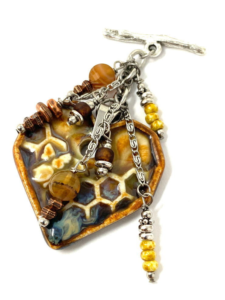 Rustic Porcelain Heart Beaded Cluster Pendant Necklace #3112D - Bead Dangle Design