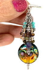 Lampwork Glass Swirl Beaded Cluster Pendant Necklace #22715D - Bead Dangle Design