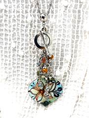 Hand-Painted Copper Enamel Floral Beaded Dangle Cluster Necklace #2321D - Bead Dangle Design