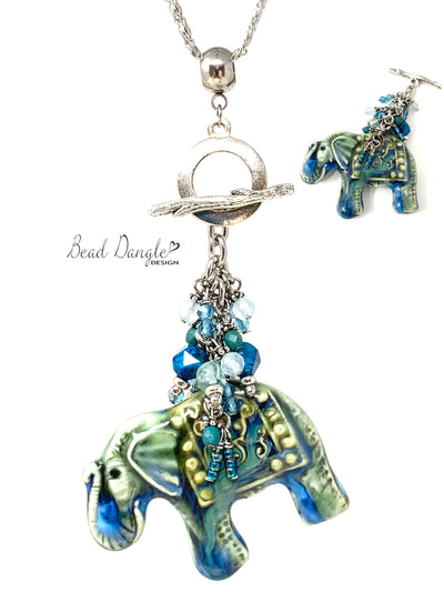 Beautiful Porcelain Elephant Beaded Dangle Necklace #3193D - Bead Dangle Design