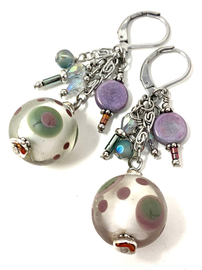 Handmade Lampwork Glass Beaded Dangle Earrings #1225E - Bead Dangle Design