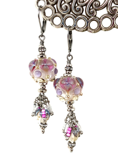 Gorgeous Lampwork Glass Beaded Dangle Earrings #1378E - Bead Dangle Design