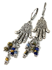 Greek Henna Hand Beaded Dangle Earrings #1174E - Bead Dangle Design