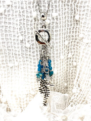 Blue Apatite Seahorse and Turtle Beaded Cluster Pendant Necklace #2303D - Bead Dangle Design