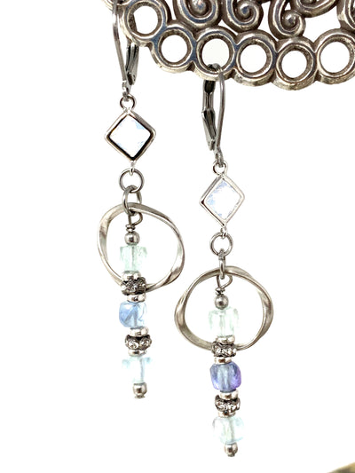 Faceted Fluorite and Opal Quartz Beaded Dangle Earrings #1427E - Bead Dangle Design