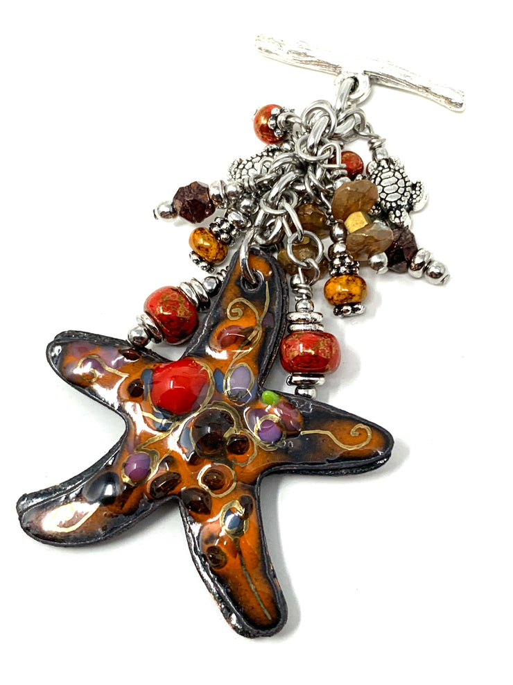 Painted Copper Starfish Beaded Cluster Pendant #2603D - Bead Dangle Design