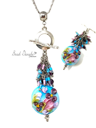 Floral Lampwork Glass Beaded Cluster Dangle Necklace #3236D - Bead Dangle Design