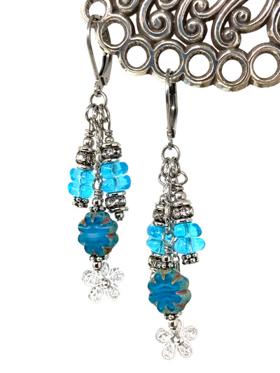 Czech Glass Floral Beaded Dangle Earrings #1228E - Bead Dangle Design